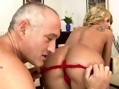 old chap fucking and licking young angel