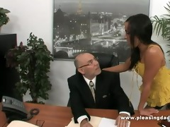 chanel white copulates old boss in the office to