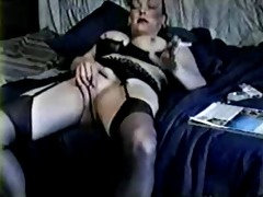mom shows and rubs pussy.