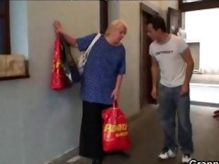 lustful juvenile lad bangs old blonde woman