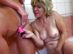 old mamma and her daughter is playing with pussy
