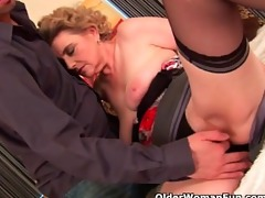 breasty grandma in nylons receives her hairy