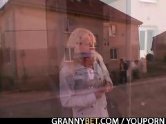 nasty granny in nylons rides jock