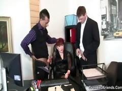 office bitch swallows schlongs